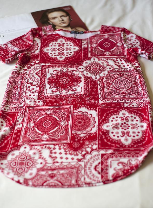 Красная блуза туника с коротким рукавом boohoo, размер l - Фото 3