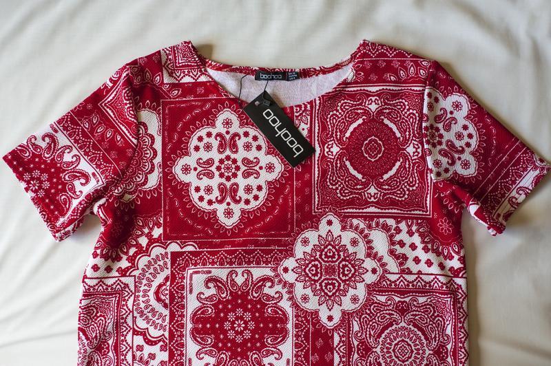 Красная блуза туника с коротким рукавом boohoo, размер l - Фото 4