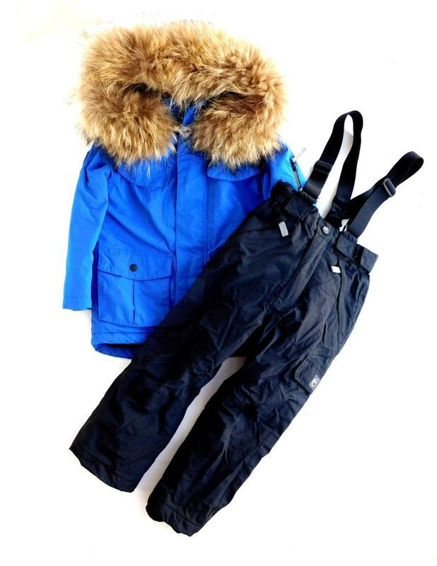 Комбинезон куртка парка из непромокаемой ткани+штаны полукомби...