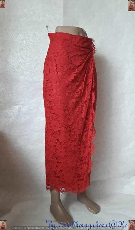 Фирменная wallis нарядная кружевная юбка в пол на запах красно... - Фото 3