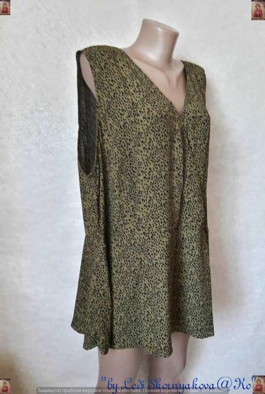 Фирменная new look шифоновая блуза в мелкий принт под леопарда... - Фото 3