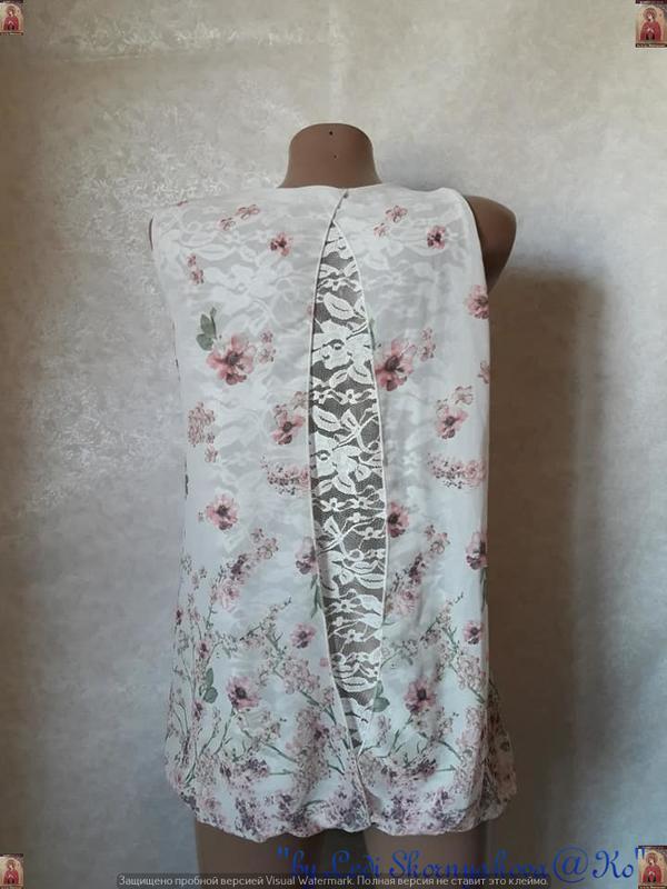Красивая летняя блуза в цветочный прин с кружевной спинкой, ра... - Фото 2