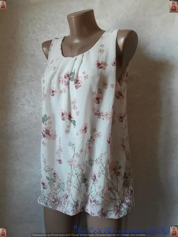 Красивая летняя блуза в цветочный прин с кружевной спинкой, ра... - Фото 3