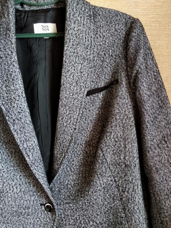 Свободный шерстяной пиджак жакет блейзер в елочку noa noa - Фото 3