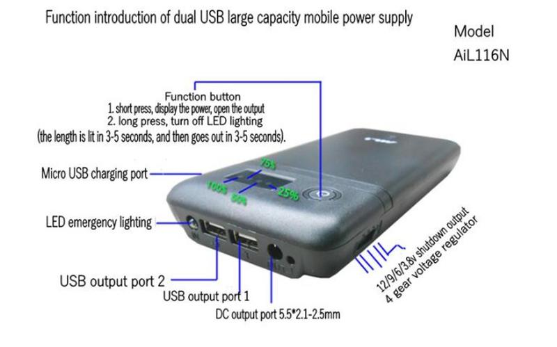 Универсальная Зарядка Power Bank 5V 6V 9V 12V 6х18650 aili116