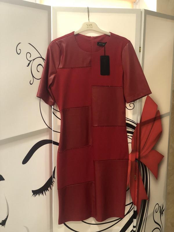 Mega sale !стильное красное платье с кожаными вставками - Фото 2