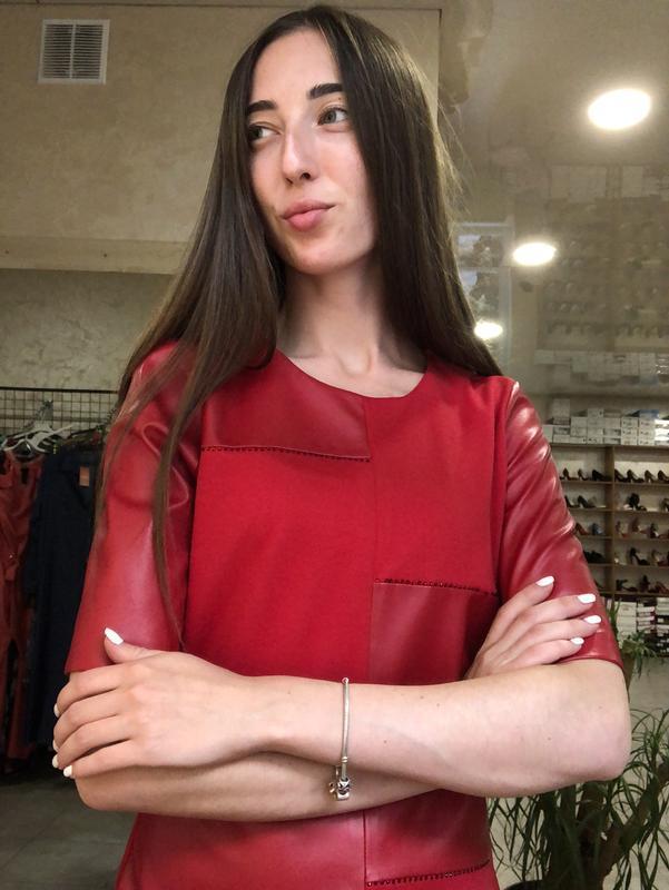 Mega sale !стильное красное платье с кожаными вставками - Фото 5