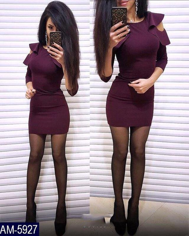 Трикотажное бордовое платье