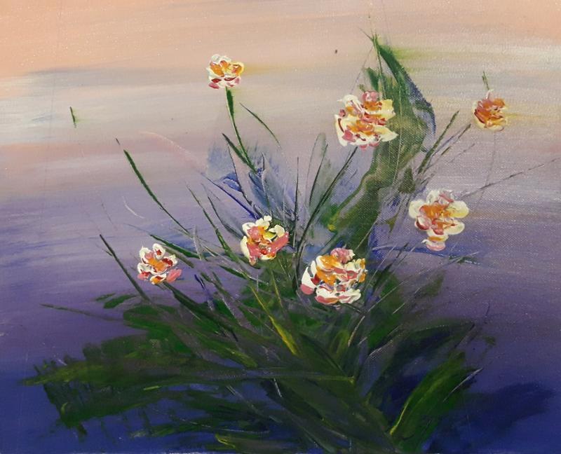 """""""Весеннее настроение"""" (цветы на воде)"""