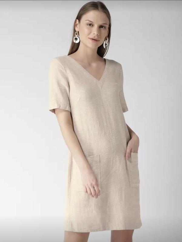 Льняное платье-шифт ровной модели - Фото 2