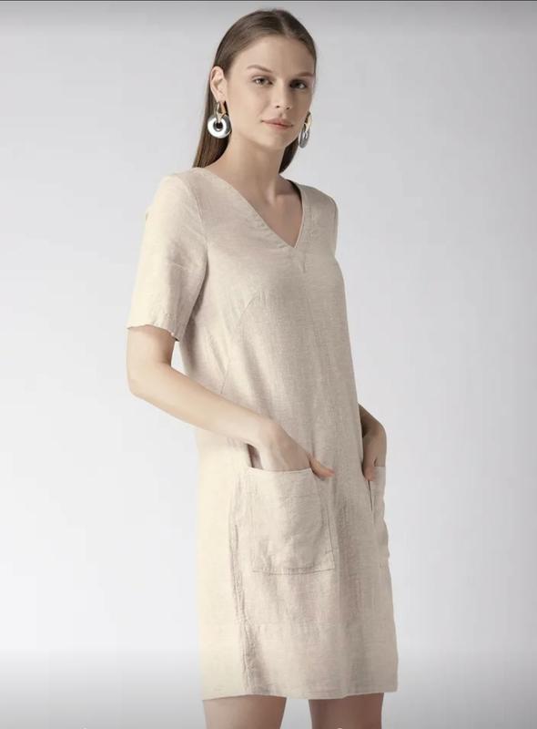 Льняное платье-шифт ровной модели - Фото 3