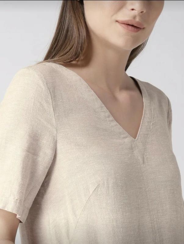 Льняное платье-шифт ровной модели - Фото 5