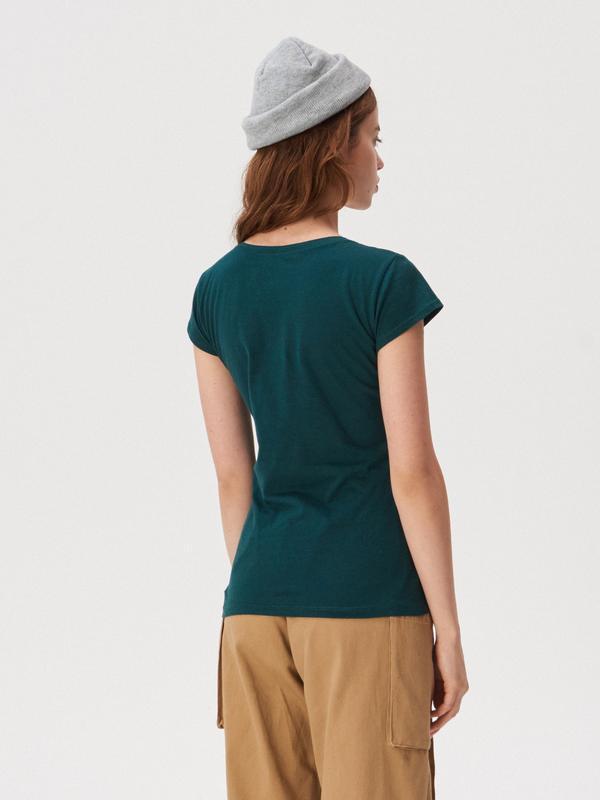 Новая темно-зеленая футболка sinsay любовь проста а я занята xs s - Фото 3