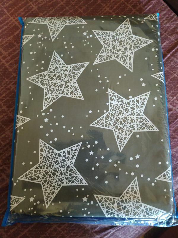 Постельное полуторное белье звезды на сером - Фото 3