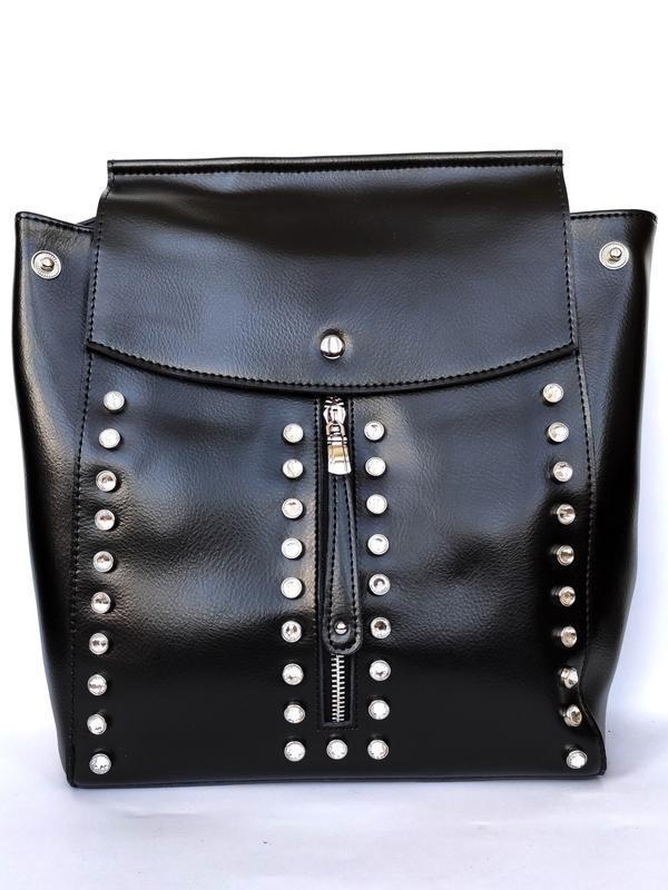 """Женский кожаный рюкзак """"steely crystal"""" черный"""
