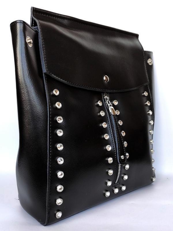 """Женский кожаный рюкзак """"steely crystal"""" черный - Фото 2"""
