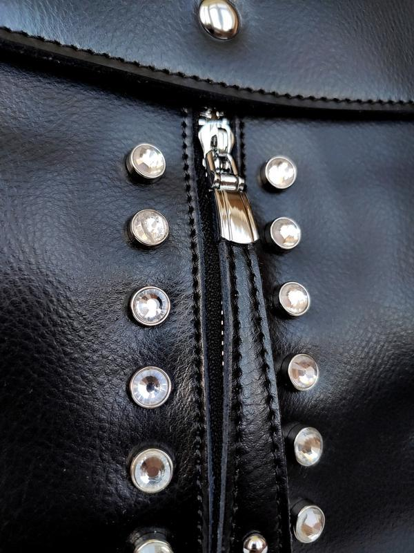 """Женский кожаный рюкзак """"steely crystal"""" черный - Фото 3"""