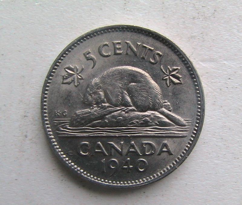 Канада 5 центов 1940 Георг VI. Бобёр