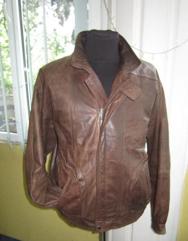 Большая кожаная мужская куртка (бомбер) mc percy. англия. лот 635