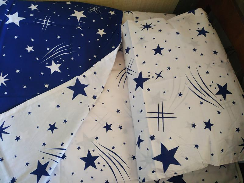 Постельное полуторное белье звезды сине-белое - Фото 2