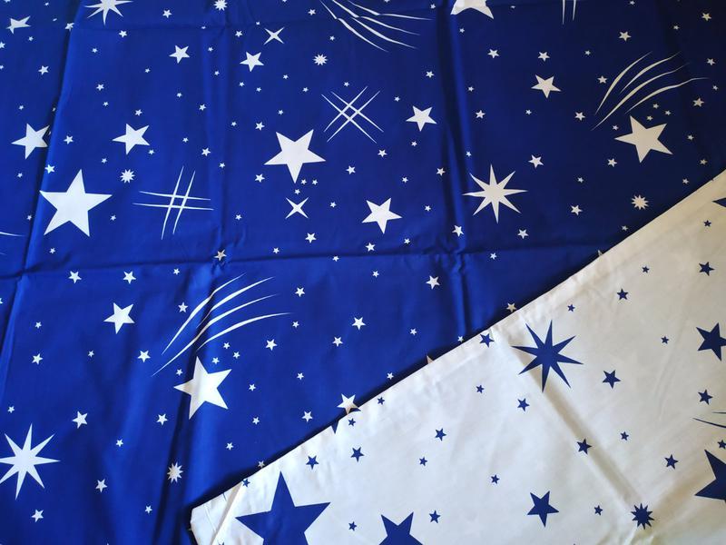 Постельное полуторное белье звезды сине-белое - Фото 4