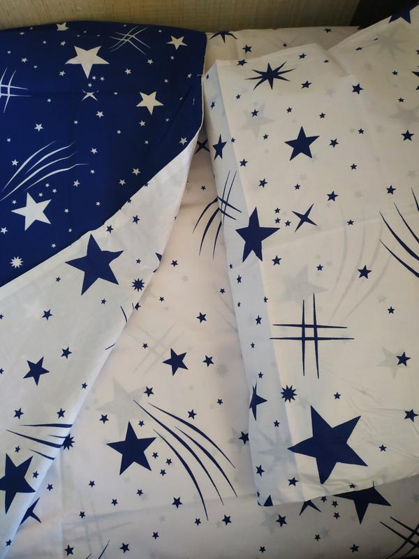 Постельное полуторное белье звезды сине-белое - Фото 6