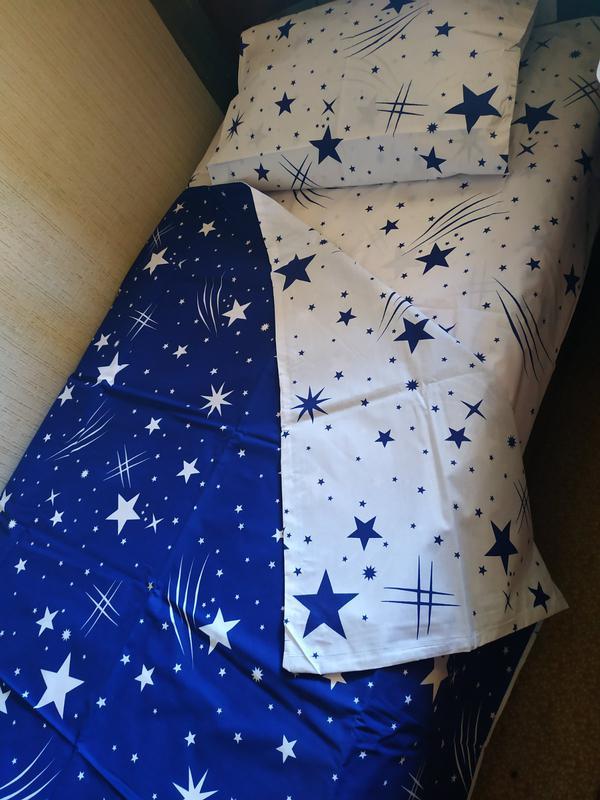 Постельное полуторное белье звезды сине-белое - Фото 10