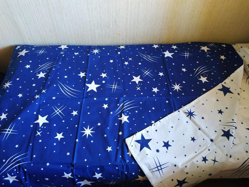 Постельное полуторное белье звезды сине-белое - Фото 9
