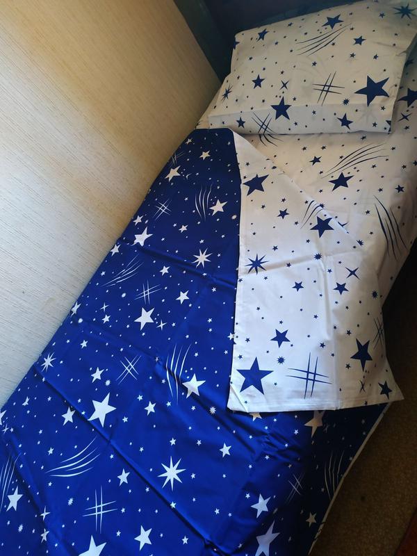 Постельное полуторное белье звезды сине-белое - Фото 5