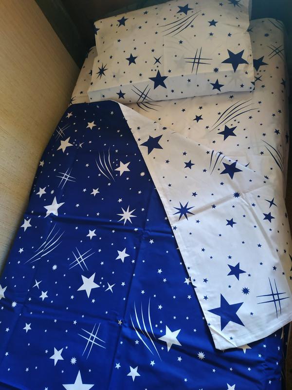 Постельное полуторное белье звезды сине-белое - Фото 8
