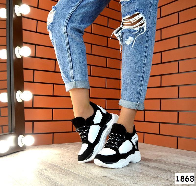 Натуральная замша стильные кроссовки на массивной подошве сник...