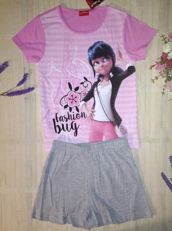 Пижама хлопковая с шортами lady bug леди баг 4-5 лет