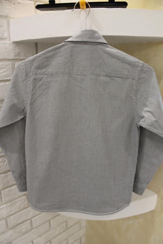 Серая рубашка в мелкую полоску 8  лет 128 см - Фото 2