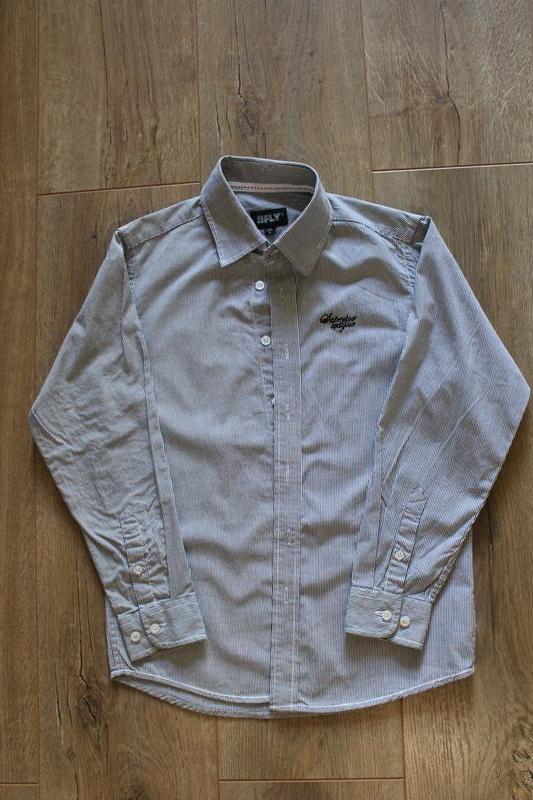 Серая рубашка в мелкую полоску 8  лет 128 см - Фото 3