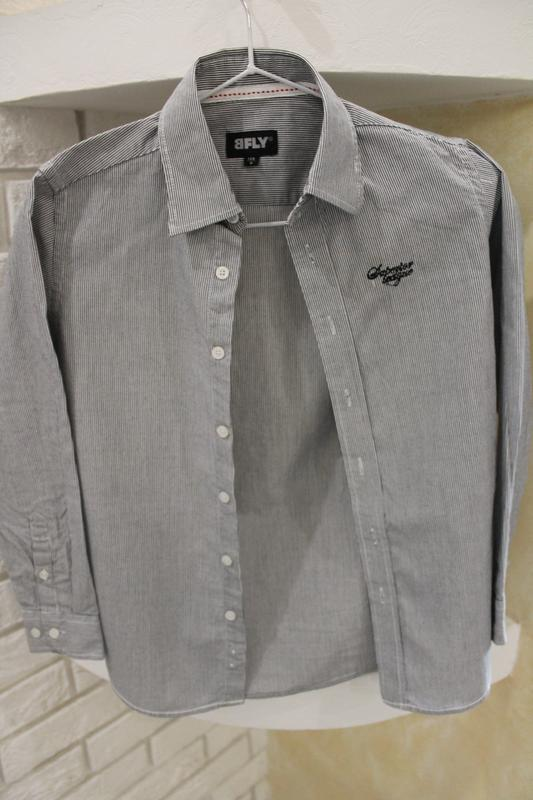 Серая рубашка в мелкую полоску 8  лет 128 см - Фото 5