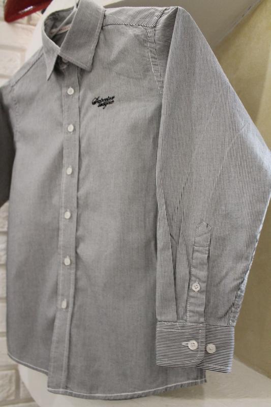 Серая рубашка в мелкую полоску 8  лет 128 см - Фото 6