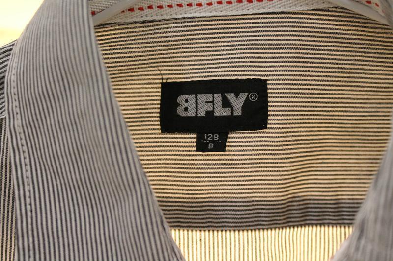 Серая рубашка в мелкую полоску 8  лет 128 см - Фото 7