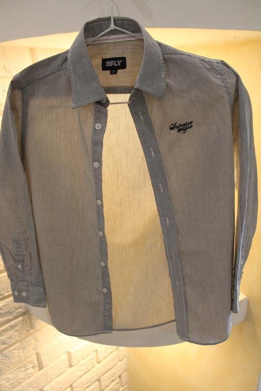 Серая рубашка в мелкую полоску 8  лет 128 см - Фото 8