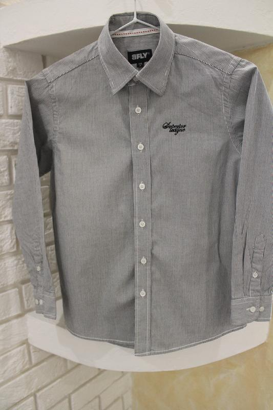 Серая рубашка в мелкую полоску 8  лет 128 см - Фото 9