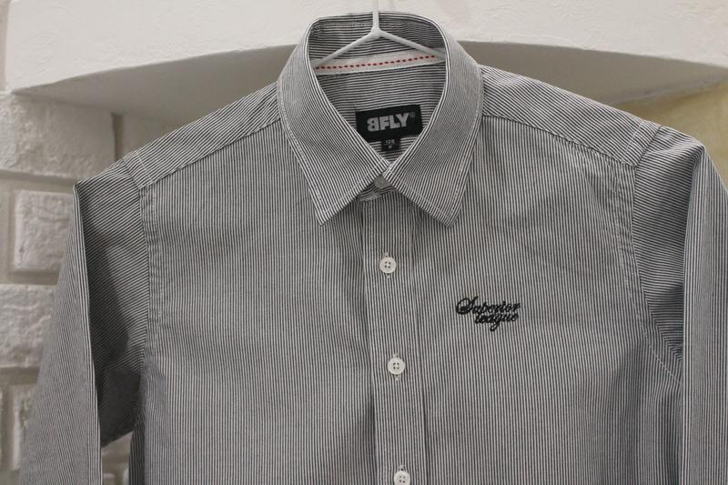 Серая рубашка в мелкую полоску 8  лет 128 см - Фото 10