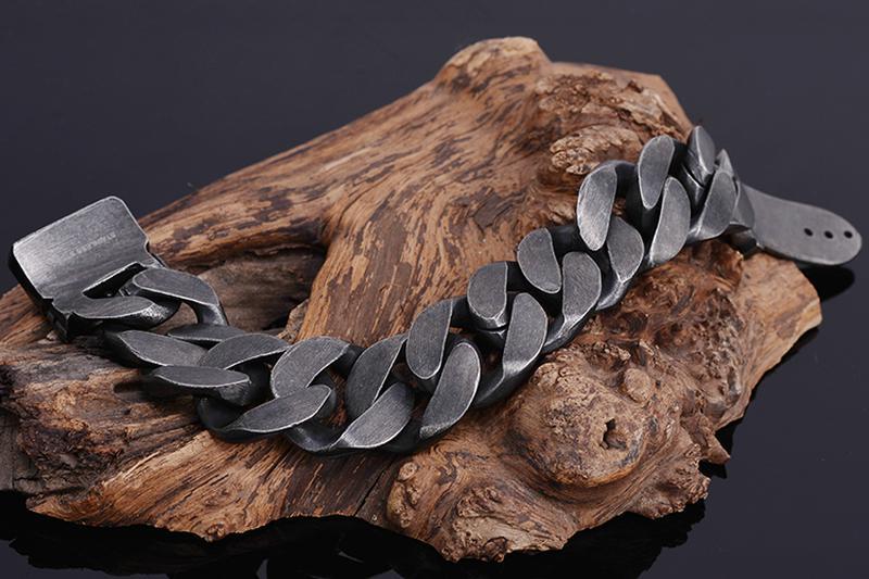 Мужской широкий браслет из нержавеющей стали - Фото 3