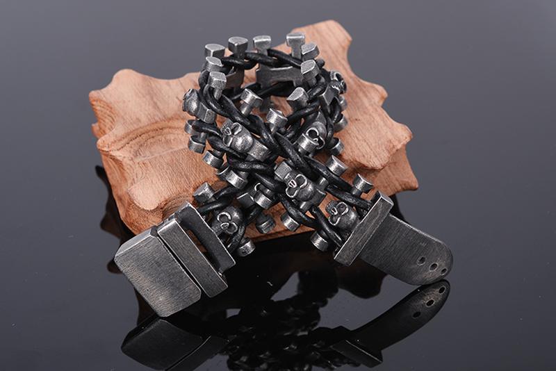 Мужской широкий браслет из нержавеющей стали - Фото 2