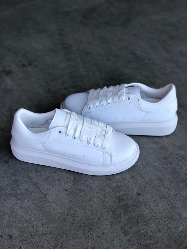 Кроссовки женские mcqueen  all white - Фото 9