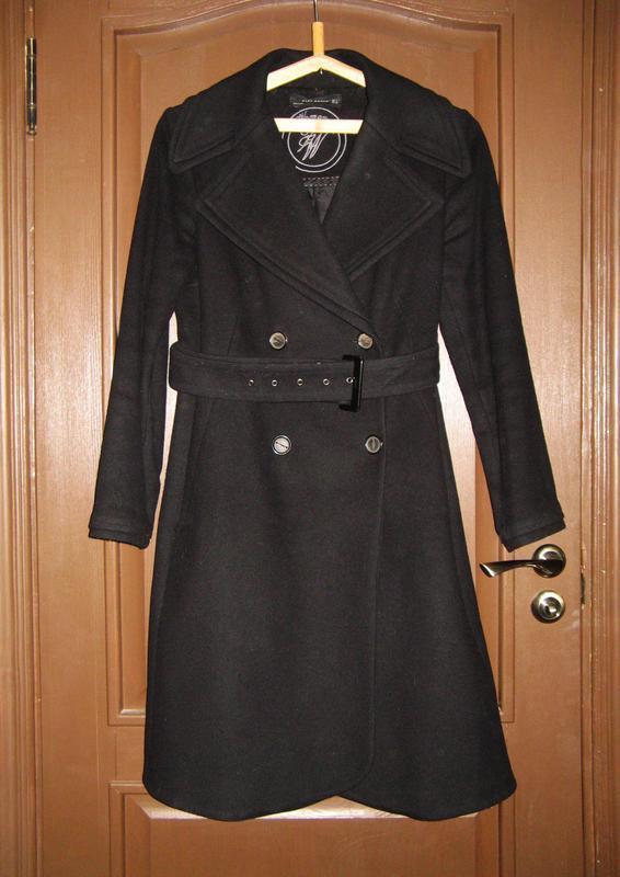 Классическое двубортное полушерстяное пальто под поясок, осень...