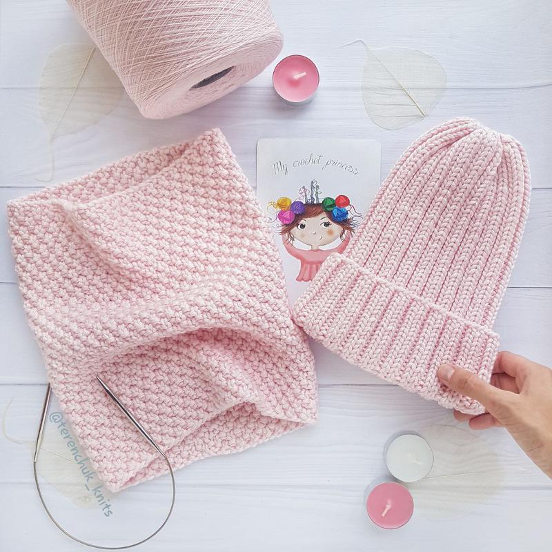 Детский вязаный набор шапочка тыковка снуд меринос ручной работы