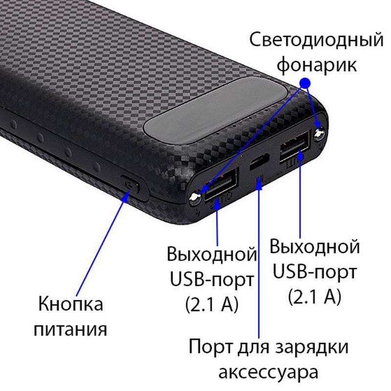 Power Bank AWEI 20000 mAh P70K внешний аккумулятор с LCD-дисплеем - Фото 5