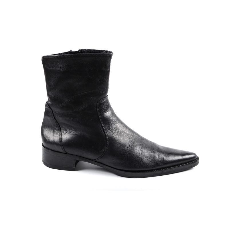 Распродажа!кожаные ботинки с острым носом на низком каблуке, п...