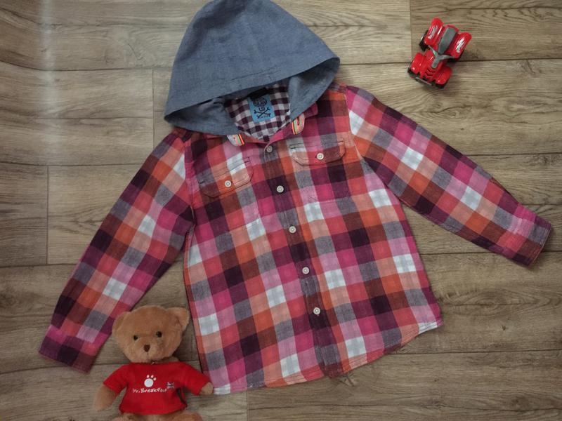 Стильная двойная рубашка в клетку с капюшоном , для мальчика 6...