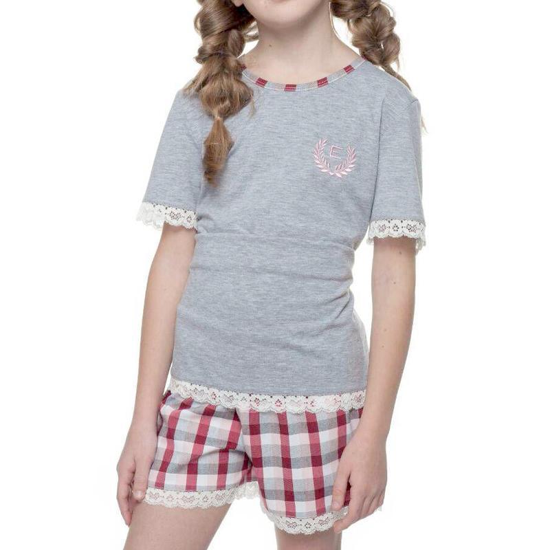 Хлопковый домашний комплект с коротким рукавом на девочку ellen