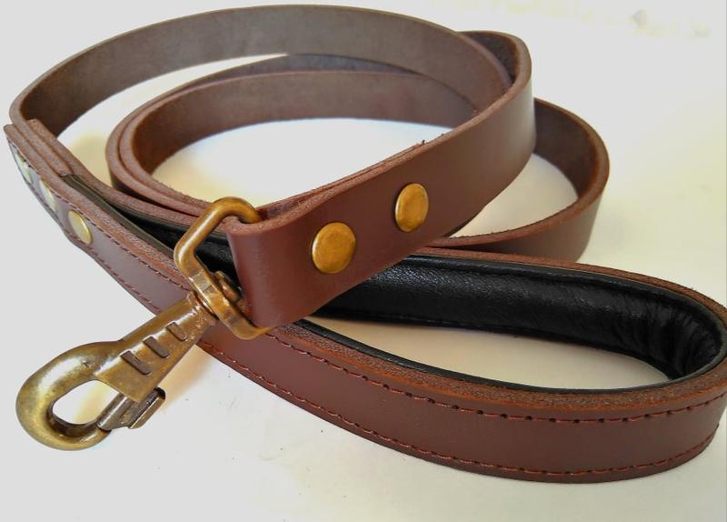 Кожаный поводок для собак 1.9 м * 23 мм с прошитой мягкой ручкой